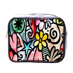 Digitally Painted Abstract Doodle Texture Mini Toiletries Bags