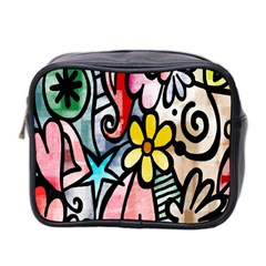 Digitally Painted Abstract Doodle Texture Mini Toiletries Bag 2 Side
