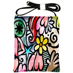 Digitally Painted Abstract Doodle Texture Shoulder Sling Bags
