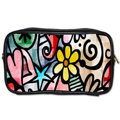 Digitally Painted Abstract Doodle Texture Toiletries Bags 2 Side