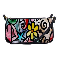 Digitally Painted Abstract Doodle Texture Shoulder Clutch Bags