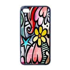 Digitally Painted Abstract Doodle Texture Apple Iphone 4 Case (black)
