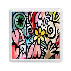 Digitally Painted Abstract Doodle Texture Memory Card Reader (square)