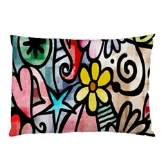Digitally Painted Abstract Doodle Texture Pillow Case (Two Sides)