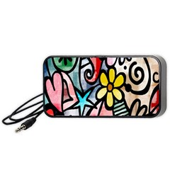 Digitally Painted Abstract Doodle Texture Portable Speaker (Black)
