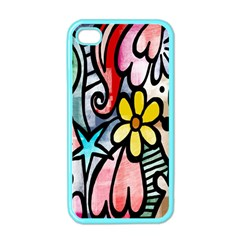 Digitally Painted Abstract Doodle Texture Apple iPhone 4 Case (Color)