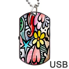 Digitally Painted Abstract Doodle Texture Dog Tag USB Flash (One Side)