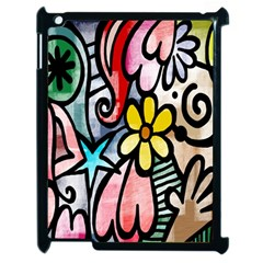 Digitally Painted Abstract Doodle Texture Apple iPad 2 Case (Black)
