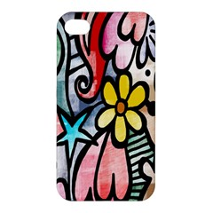 Digitally Painted Abstract Doodle Texture Apple Iphone 4/4s Hardshell Case