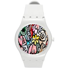 Digitally Painted Abstract Doodle Texture Round Plastic Sport Watch (M)