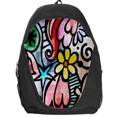 Digitally Painted Abstract Doodle Texture Backpack Bag