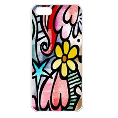 Digitally Painted Abstract Doodle Texture Apple iPhone 5 Seamless Case (White)