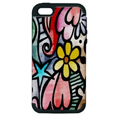 Digitally Painted Abstract Doodle Texture Apple iPhone 5 Hardshell Case (PC+Silicone)