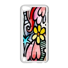 Digitally Painted Abstract Doodle Texture Apple iPod Touch 5 Case (White)