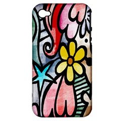 Digitally Painted Abstract Doodle Texture Apple iPhone 4/4S Hardshell Case (PC+Silicone)