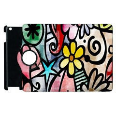 Digitally Painted Abstract Doodle Texture Apple Ipad 2 Flip 360 Case