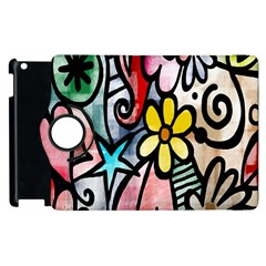 Digitally Painted Abstract Doodle Texture Apple iPad 3/4 Flip 360 Case
