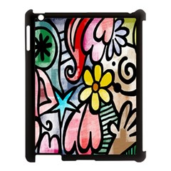 Digitally Painted Abstract Doodle Texture Apple iPad 3/4 Case (Black)