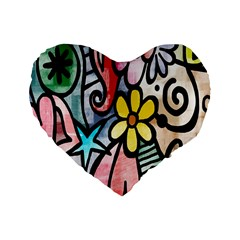 Digitally Painted Abstract Doodle Texture Standard 16  Premium Heart Shape Cushions