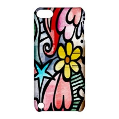 Digitally Painted Abstract Doodle Texture Apple iPod Touch 5 Hardshell Case with Stand