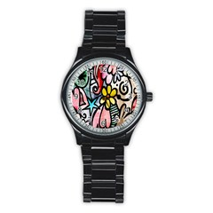 Digitally Painted Abstract Doodle Texture Stainless Steel Round Watch