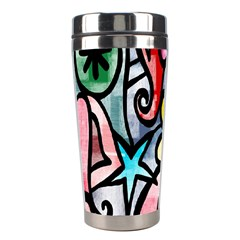 Digitally Painted Abstract Doodle Texture Stainless Steel Travel Tumblers