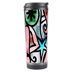 Digitally Painted Abstract Doodle Texture Travel Tumbler