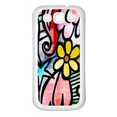 Digitally Painted Abstract Doodle Texture Samsung Galaxy S3 Back Case (White)