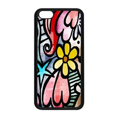 Digitally Painted Abstract Doodle Texture Apple iPhone 5C Seamless Case (Black)