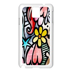 Digitally Painted Abstract Doodle Texture Samsung Galaxy Note 3 N9005 Case (White)