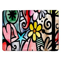 Digitally Painted Abstract Doodle Texture Samsung Galaxy Tab Pro 12 2  Flip Case