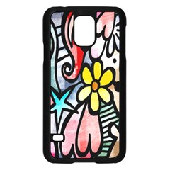 Digitally Painted Abstract Doodle Texture Samsung Galaxy S5 Case (Black)