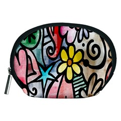 Digitally Painted Abstract Doodle Texture Accessory Pouches (Medium)