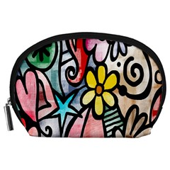 Digitally Painted Abstract Doodle Texture Accessory Pouches (Large)