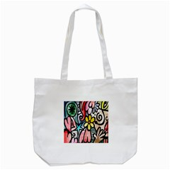 Digitally Painted Abstract Doodle Texture Tote Bag (White)