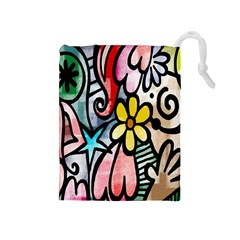 Digitally Painted Abstract Doodle Texture Drawstring Pouches (Medium)