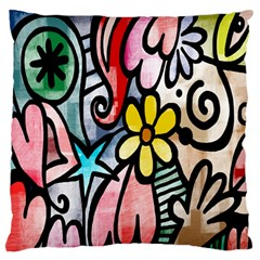 Digitally Painted Abstract Doodle Texture Large Flano Cushion Case (one Side)