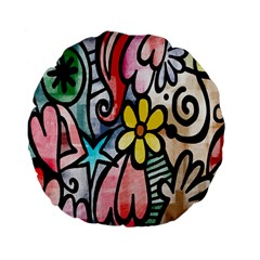 Digitally Painted Abstract Doodle Texture Standard 15  Premium Flano Round Cushions