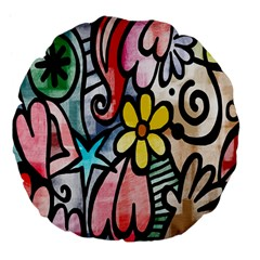 Digitally Painted Abstract Doodle Texture Large 18  Premium Flano Round Cushions