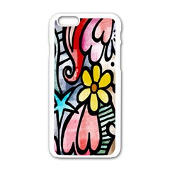 Digitally Painted Abstract Doodle Texture Apple Iphone 6/6s White Enamel Case
