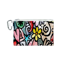 Digitally Painted Abstract Doodle Texture Canvas Cosmetic Bag (S)
