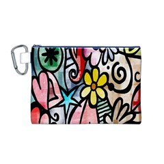 Digitally Painted Abstract Doodle Texture Canvas Cosmetic Bag (M)