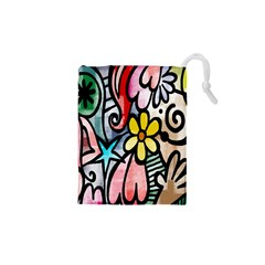 Digitally Painted Abstract Doodle Texture Drawstring Pouches (xs)