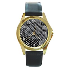 Abstract Architecture Pattern Round Gold Metal Watch