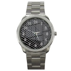 Abstract Architecture Pattern Sport Metal Watch