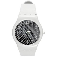 Abstract Architecture Pattern Round Plastic Sport Watch (M)