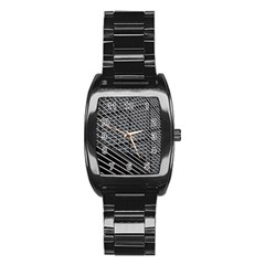 Abstract Architecture Pattern Stainless Steel Barrel Watch