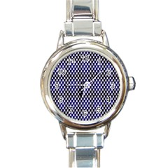 Squares Blue Background Round Italian Charm Watch