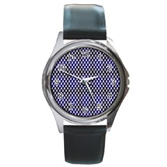Squares Blue Background Round Metal Watch