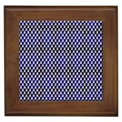 Squares Blue Background Framed Tiles